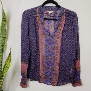 • LUCKY BRAND • boho printed long sleeve top
